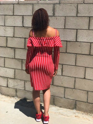 Image of Plus Size Only - RED STRIPE DRESS