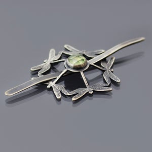 Image of Sterling Silver Dragonfly Shawl Pin/Brooch with Prehnite Cabochon