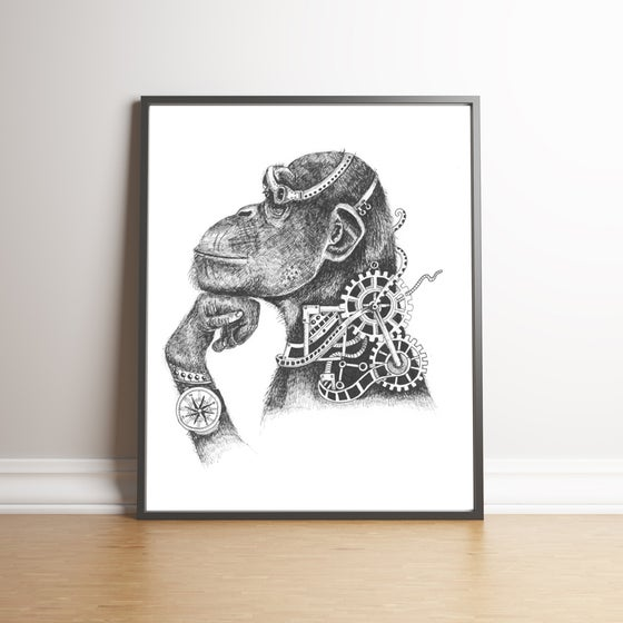 Image of The Steampunk Chimp limited edition handsigned print