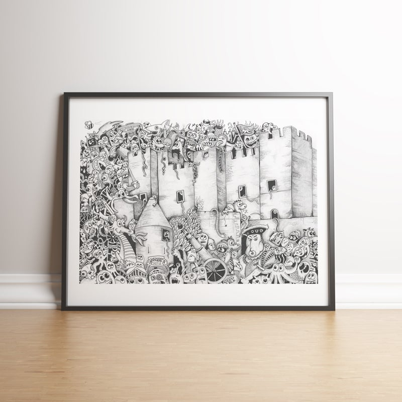 Image of Dover Castle Doodle Invasion limited edition handsigned print