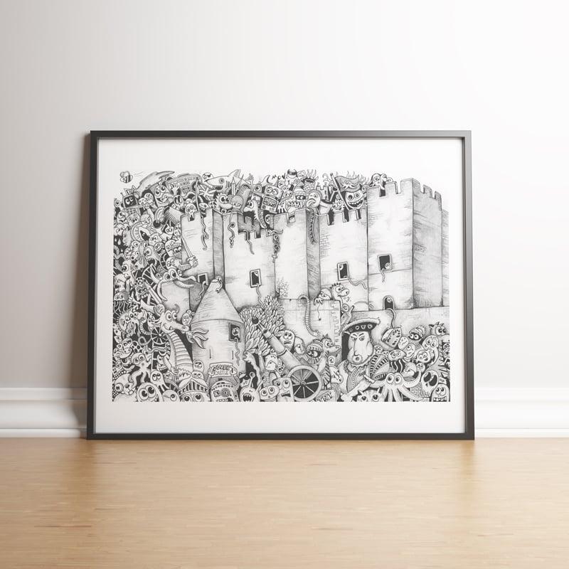 Image of Dover Castle Doodle Invasion limited edition handsigned print