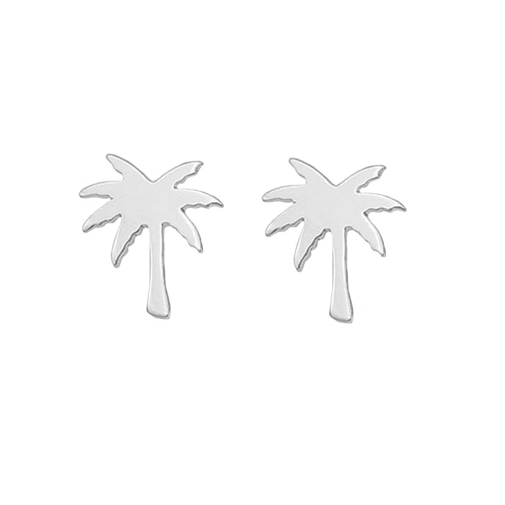 Image of Paradise Palm Tree Stud Earrings - Silver
