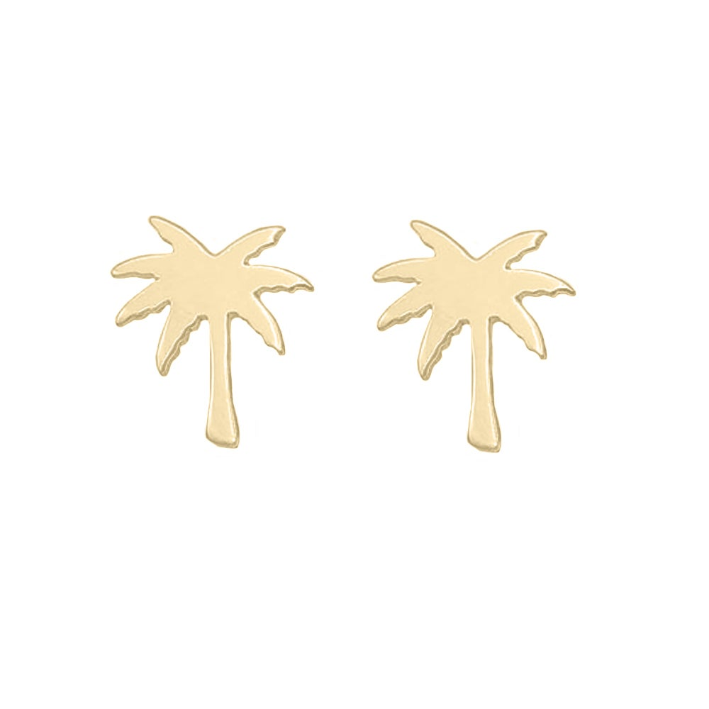 Image of Paradise Palm Tree Stud Earrings - Gold