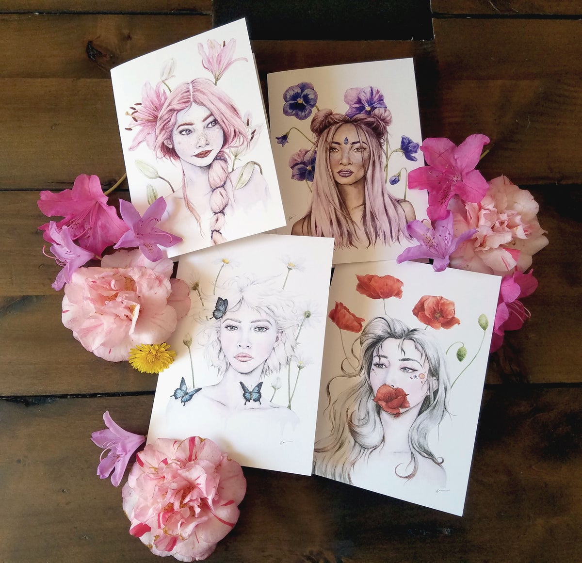 Image of 5x7 Flowerchild Collection Art Cards