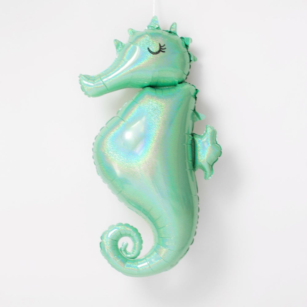 Image of {Holographic Mint Green Seahorse} Mylar Balloon