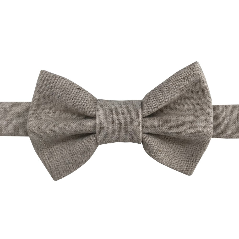Image of natural linen bow tie
