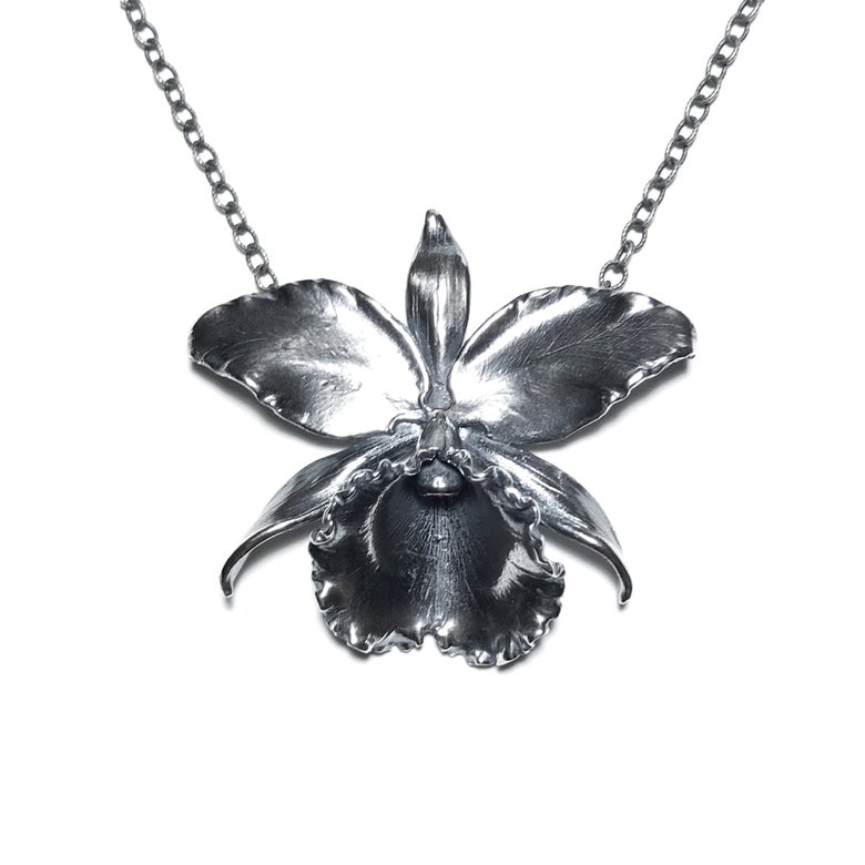 Image of Cattleya pendant in oxidized sterling silver