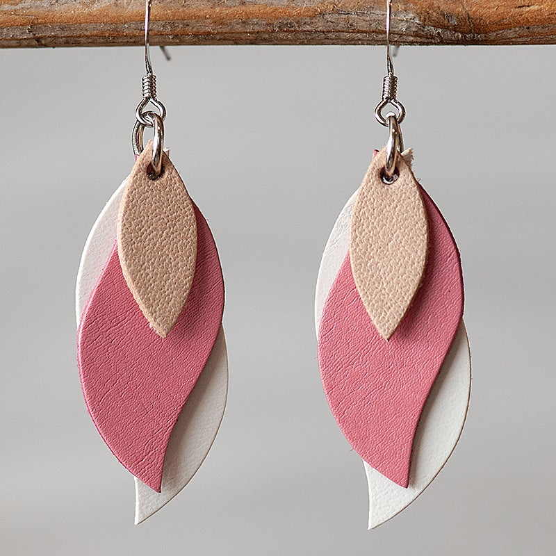 Image of Handmade Kangaroo leather leaf earrings - Natural Beige, pink and white [LPK-123]