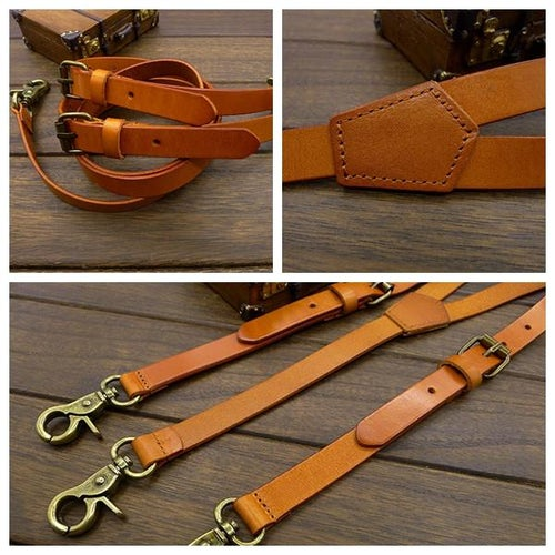 Image of Tan Brown Leather Suspenders, Groomsmen Wedding Suspenders with Hook Clips 0192