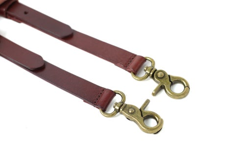 Image of Handmade Leather Suspenders for Men, Wedding Groomsmen Suspenders with Hook Clips 0192