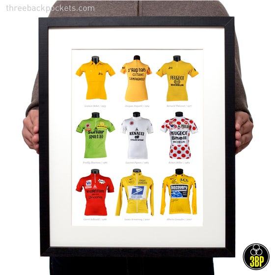 Image of Tour de France Classification winners jersey's 1953-2007 print