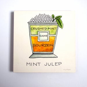 Image of Original Mint Julep Cocktail Diagram Painting