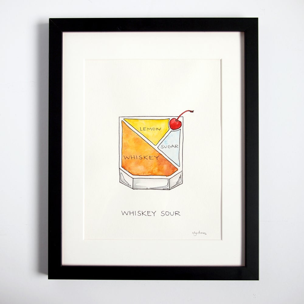 Image of Original Whiskey Sour Cocktail Painting - Framed