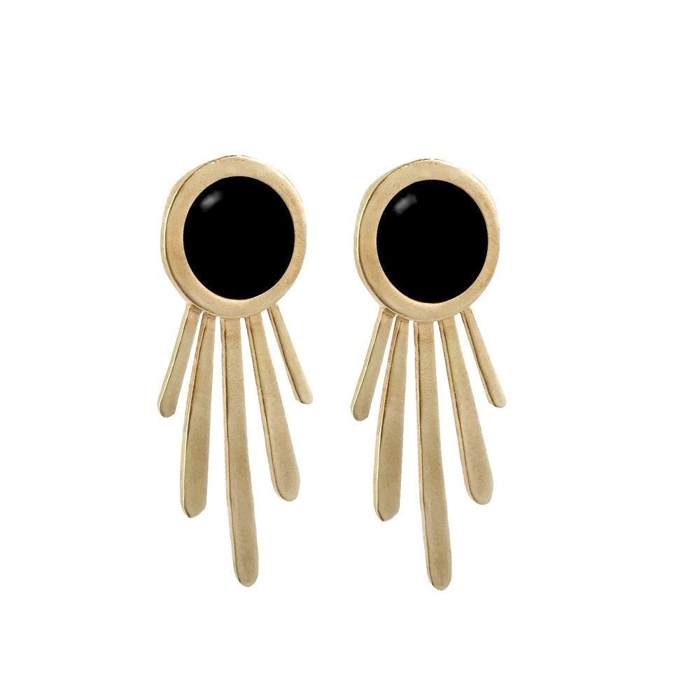 Image of Large Burst Statement Earrings with Black Onyx