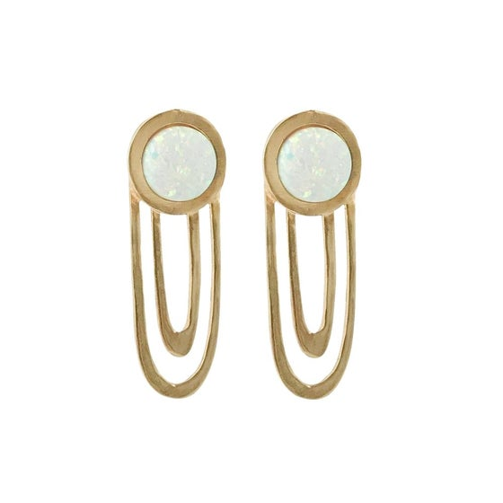 Image of Large Ripple Statement Earrings with Opal