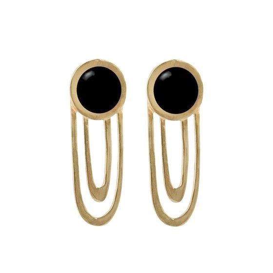 Image of Large Ripple Statement Earrings with Black Onyx
