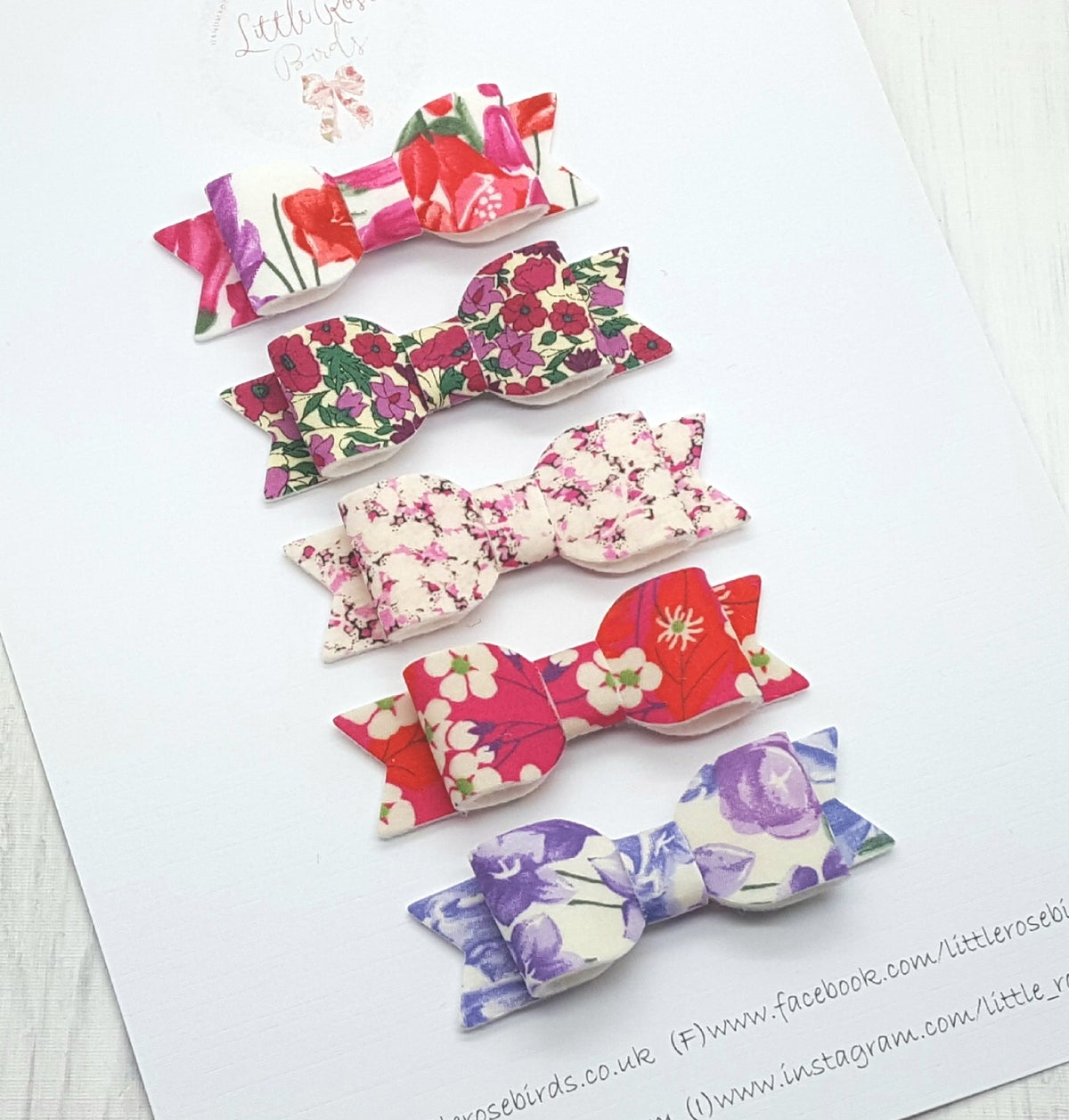 Image of Set of 5 Liberty London Bows - Purple Floral Mix