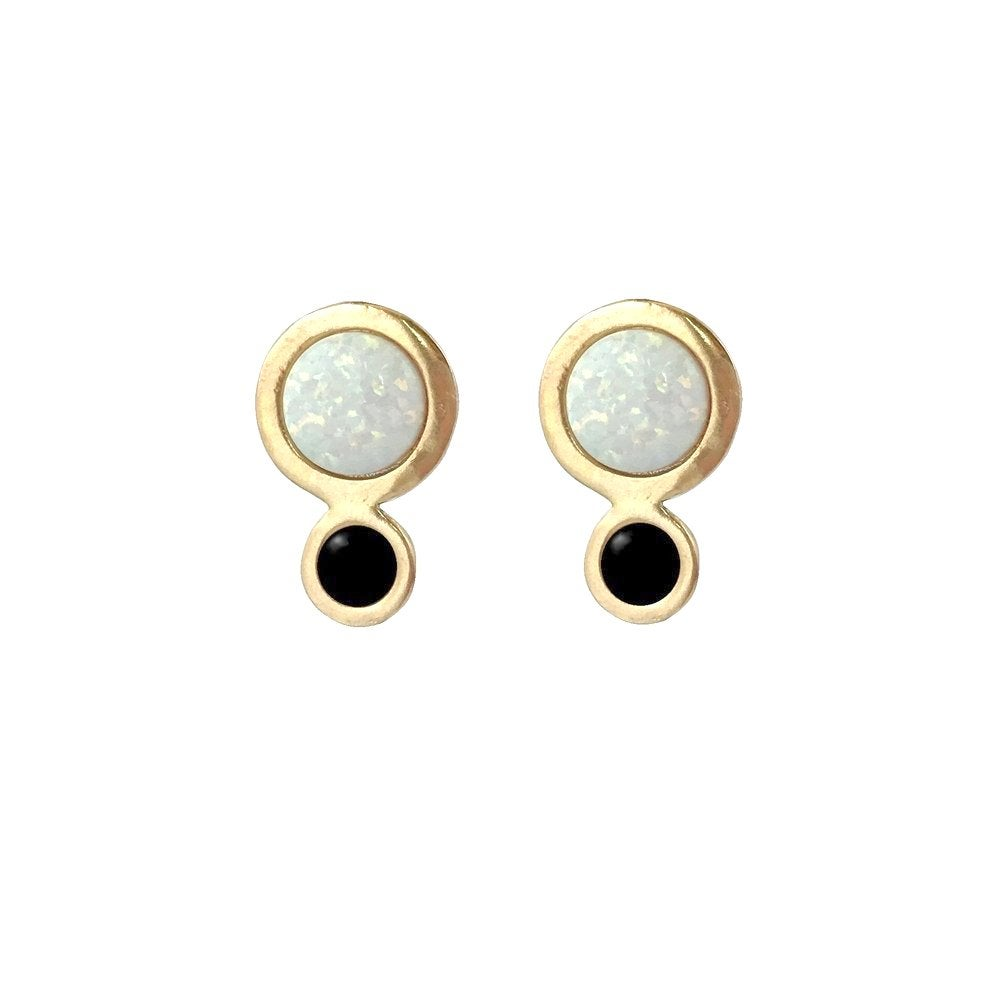 Image of Orbit Earrings with Large Opal
