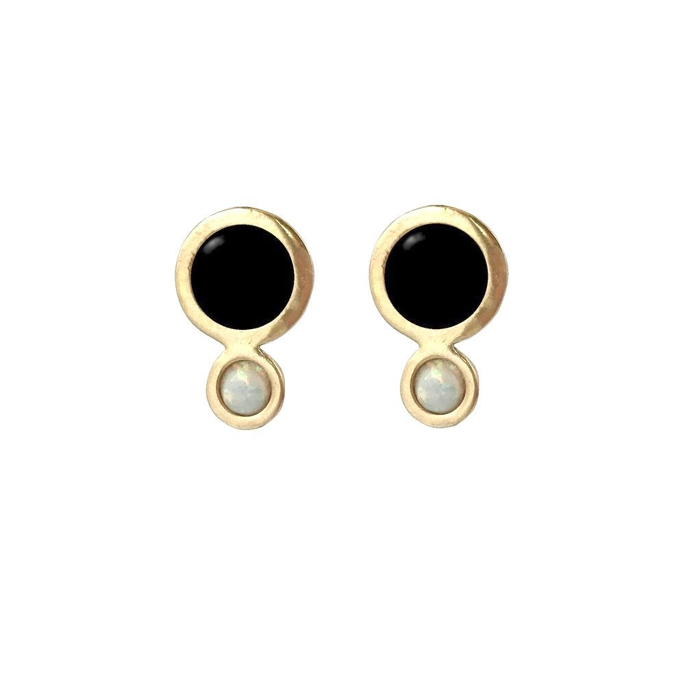 Image of Orbit Earrings with Large Black Onyx