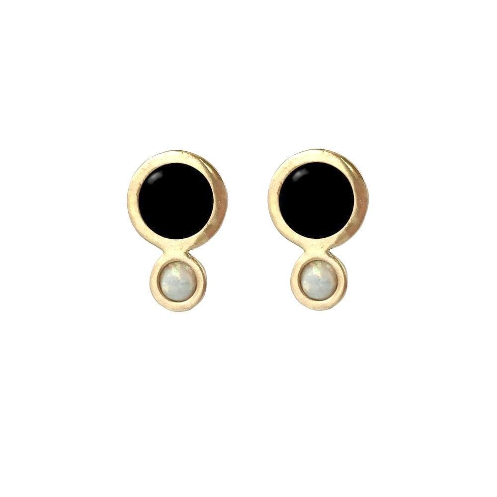 Image of Orbit Earrings with Large Black Onyx