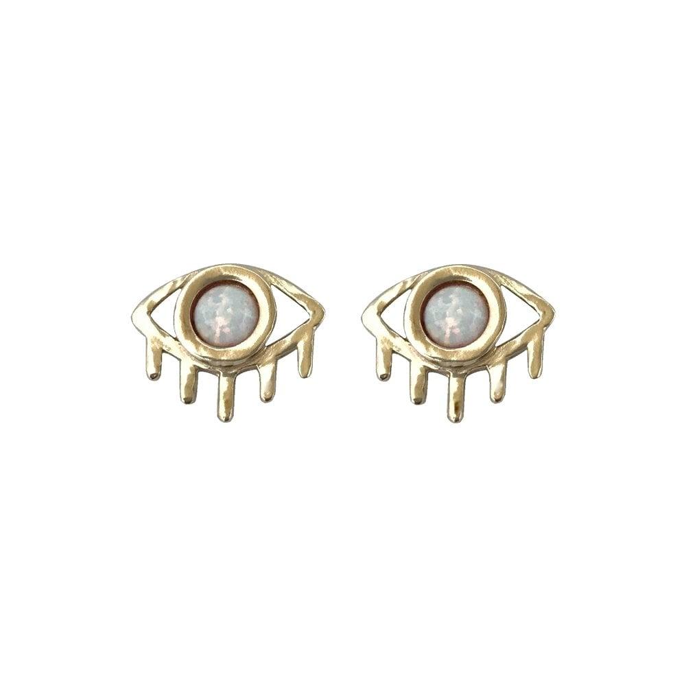 Image of Eye Earrings with Opal