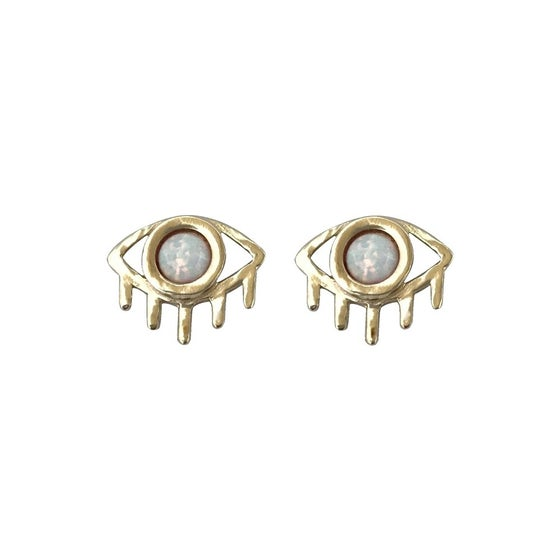 Image of Eye Earrings with Opal