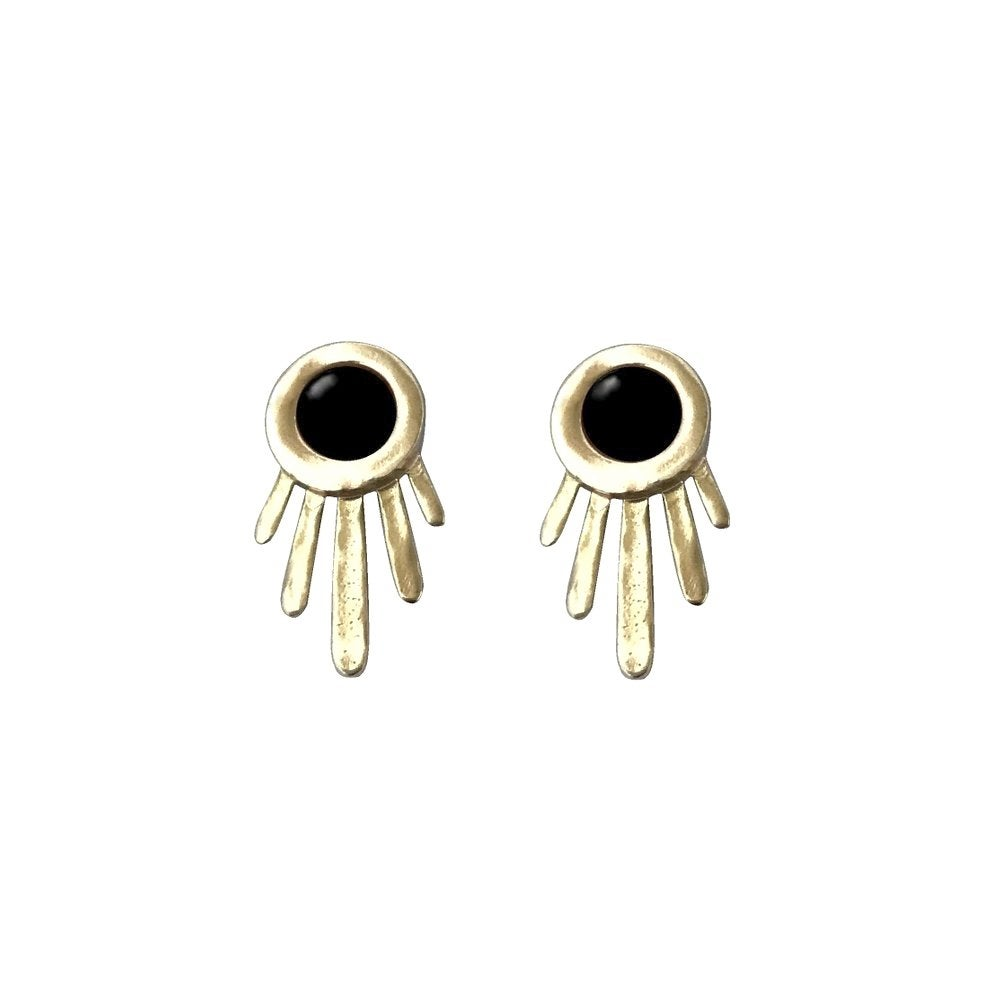 Image of Burst Earrings with Black Onyx