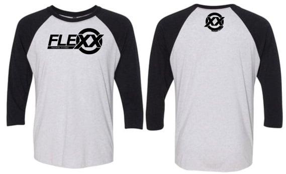 Image of Flexx Unisex Vin Bk/Hthr Wht Baseball Raglan Tee