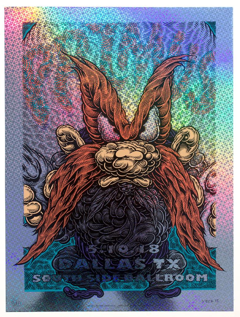 Image of Primus Gig Poster: Back Off, 2018 (Kaleidoscope Foil) MISPRINT 3