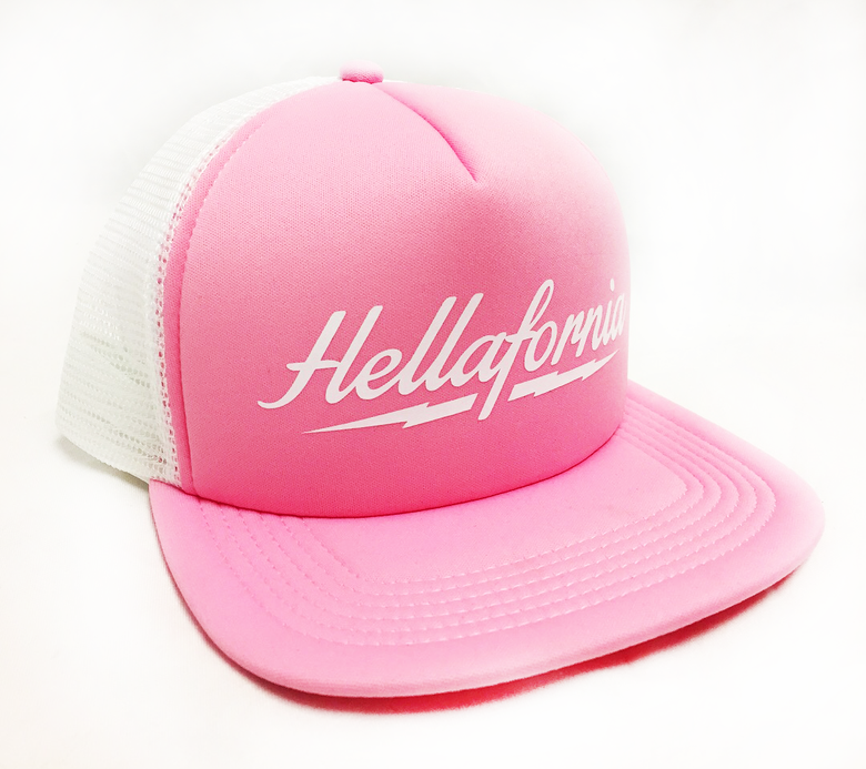 Image of Hellafornia Lightning PinkTrucker Hat