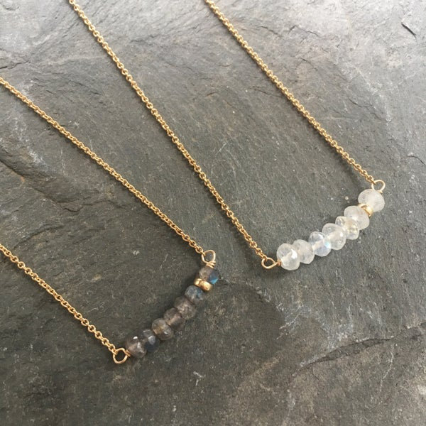 Image of Moonstone Seven Necklace - Gold Filled