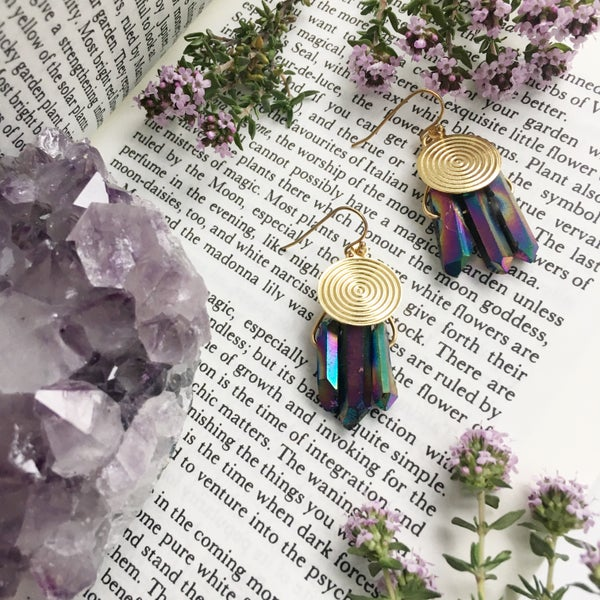 Image of Sol Earrings - Aura Quartz Crystal
