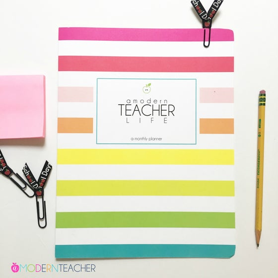 Image of ***BRIGHT STRIPES*** - A Modern Teacher Life Monthly CALENDAR
