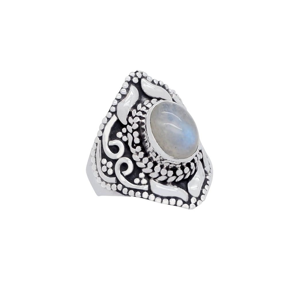 Image of Sterling Silver & Rainbow Moonstone Spirit Ring