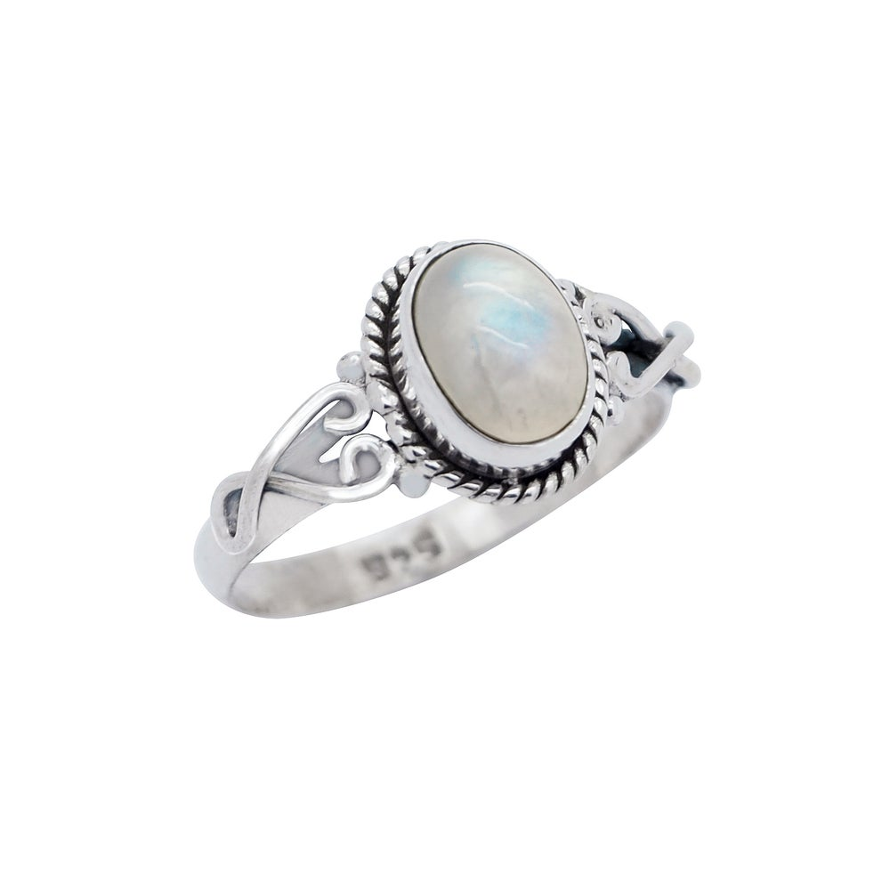 Image of Sterling Silver & Rainbow Moonstone Lilith Ring