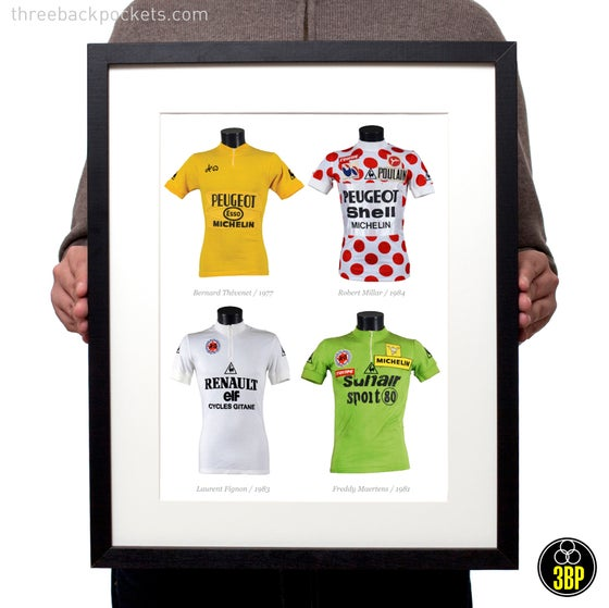 Image of Legends: Tour de France Classification winners - original race worn jerseys art print