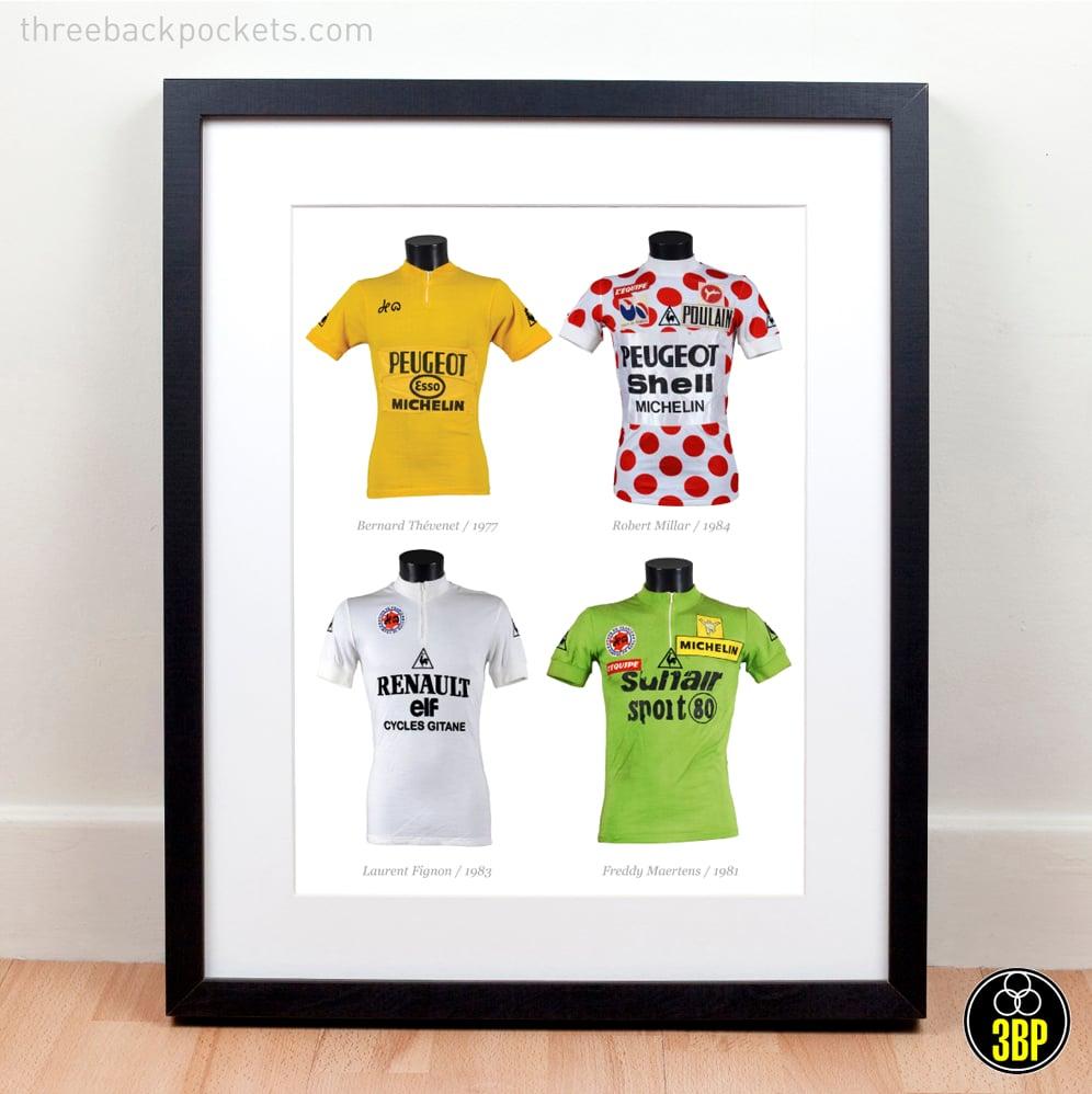Image of Legends: Tour de France Classification winners - original race worn jerseys art print
