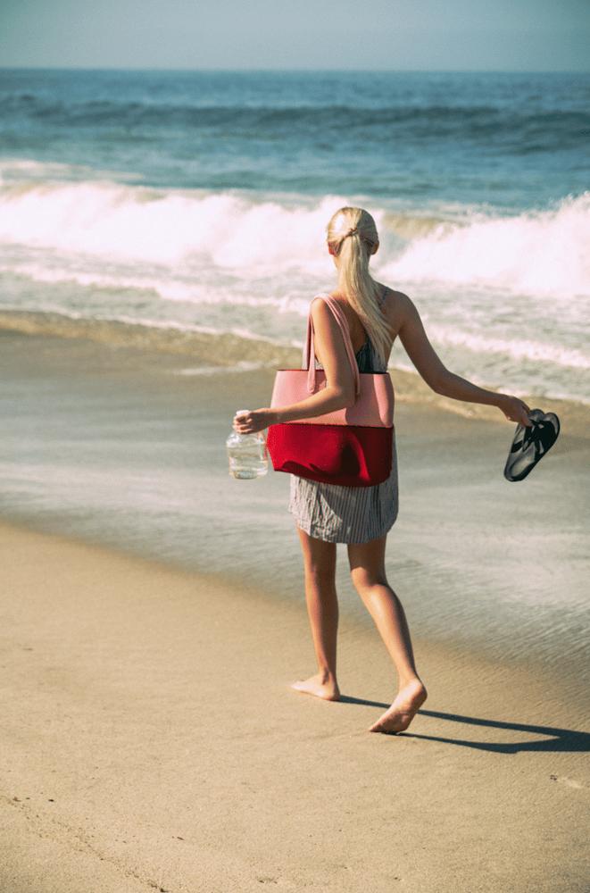 Image of Raspberry Pink neoprene beach bag tote