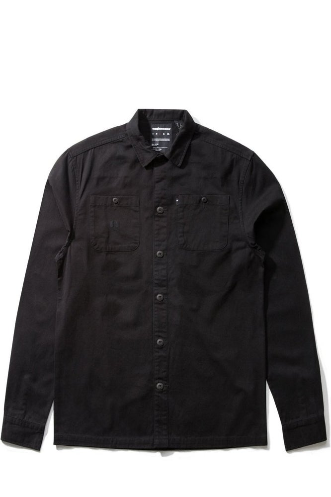 Image of THE HUNDREDS - LABOR L/S WOVEN TEE (BLACK)