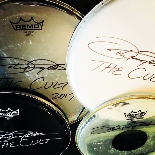 Image of John Tempesta Autographed Drum Head