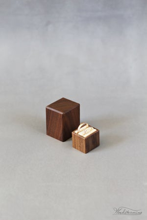 Image of Wooden wedding ring box - Woodstorming box for two rings - ring bearer box - ring display