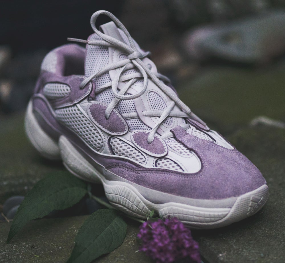 brand new 0f9b7 46abf KANYE WEST'S YEEZY BLUSH 500 lavender/red/dark green recolored