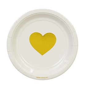 Image of Metallic Gold Foil Heart Cake Plates