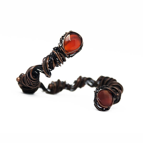 Image of Carnelian agate and copper torc bracelet