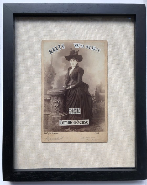 Image of Antique Paper Political Collage NASTY WOMEN USE COMMON SENSE Framed