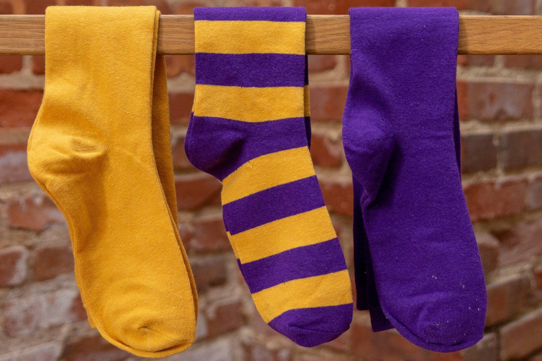 Image of Gold, Purple, Stripe Socks