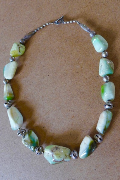 Image of Amazonite and Silver Necklace by Barbara Twohil