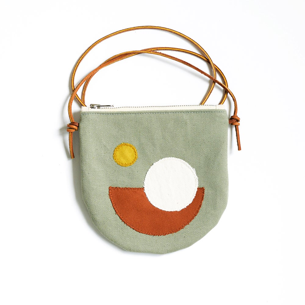 Image of Pocket Purse - Crossbody, Light Green Cotton Canvas with Appliqué