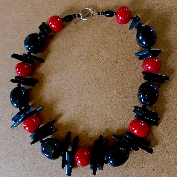 Image of Jet, Obsidian, and Coral Necklace by Barbara Twohil