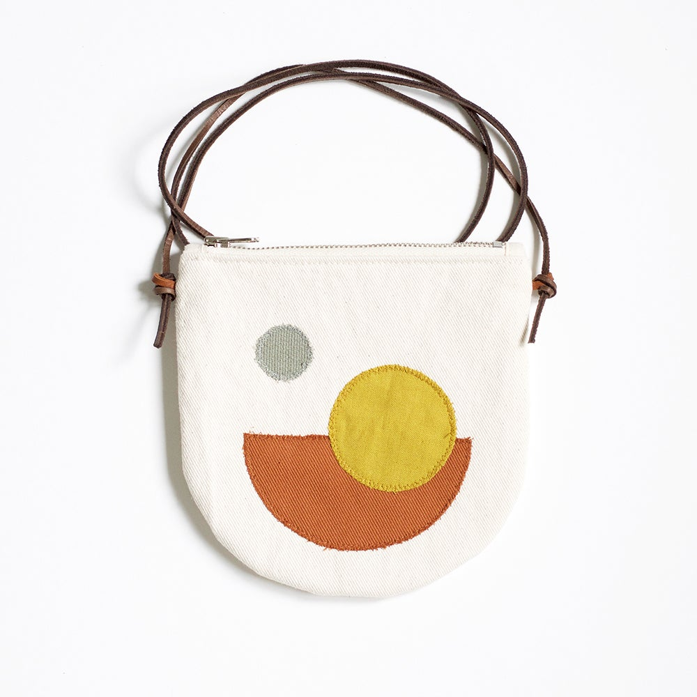 Image of Pocket Purse - Crossbody, Ivory Cotton Canvas with Appliqué